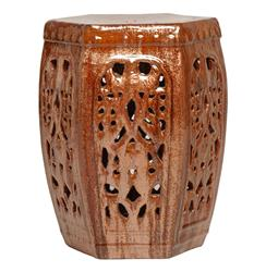 Hexagon Pierced Ceramic Garden Stool- Cinnabar Brown Red Rust Glaze | EM-0948CI
