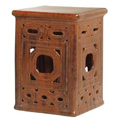 Square Asian Lattice Pierced Garden Seat Stool- Antique Brown Glaze