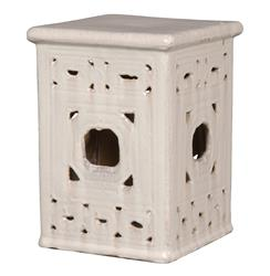 Square Lattice Pierced Garden Seat Stool- White Glaze