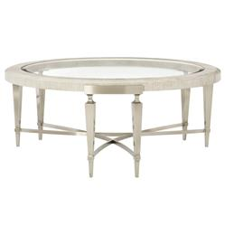 Hayley Hollywood Regency Round Glass Top Coffee Table
