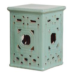 Square Lattice Pierced Garden Seat Stool- Light Turquoise Blue Glaze
