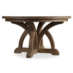 "Vadim French Country Round Pedestal Dark Wood Extendable Dining Table - 54""-72"""