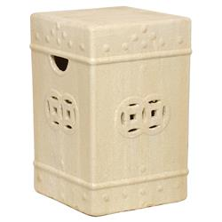 Square Asian Garden Stool End Table- Antique White Champagne Glaze