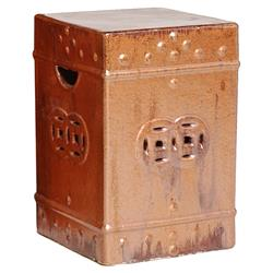 Square Asian Garden Stool End Table- Red Rust Brown Glaze