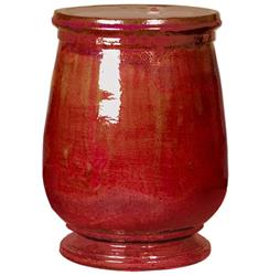 Tuscan Red Urn Shaped Ceramic Garden Stool Seat