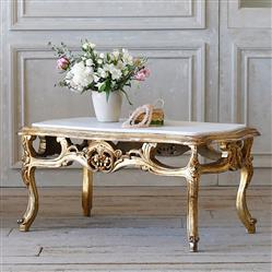 French Country Style Eloquence® Vintage Coffee Table with Marble Top: 1940