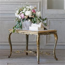 French Country Style Eloquence® Vintage Coffee Table with Marble Top: 1940 | Kathy Kuo Home