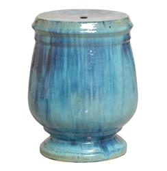 Turquoise Blue Urn Shaped Coastal Beach Ceramic Garden Stool Seat
