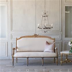 French Country Style Eloquence® Vintage Settee: 1940 | Kathy Kuo Home