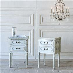 French Country Style Eloquence® Pair of Vintage Nightstands: 1940 | Kathy Kuo Home