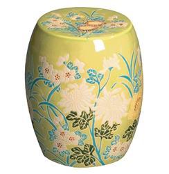 Fern Green Turquoise Ivory Flower Design Ceramic Garden Seat Stool