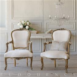 French Country Style Eloquence® Pair of Vintage Armchairs: 1940