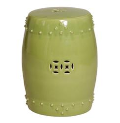 Classic Prosperity Light Green Ceramic Pierced Garden Seat Stool