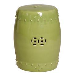 Classic Prosperity Light Green Ceramic Pierced Garden Seat Stool
