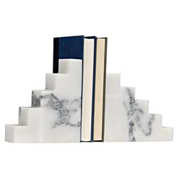 Thora Modern Classic White Stone Step Bookends | Kathy Kuo Home