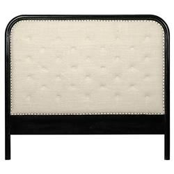 Nadalia Modern Classic Mahogany White Upholstered Bed - Queen | Kathy Kuo Home