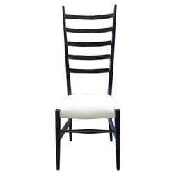Cailin Modern Classic Hand Rubbed Black White Upholstered Dining Chair | Kathy Kuo Home