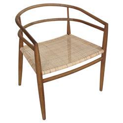 Noir Finley Mid Century Teak Rattan Dining Chair