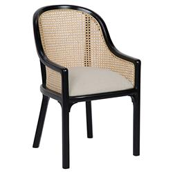 Noir Gaston French Country Black Mahogany Linen Upholstered Dining Chair
