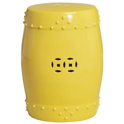 Classic Prosperity Light Yellow Ceramic Pierced Garden Seat Stool