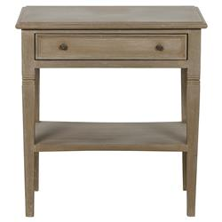 Noir Oxford French Country Brown Mahogany Wood 1-Drawer Side Table