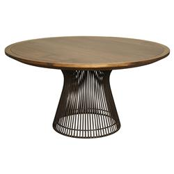 Cedrica Rustic Dark Walnut Metal Round Dining Table