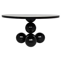 Faustine Modern Classic Black High Gloss Round Pedestal Dining Table | Kathy Kuo Home