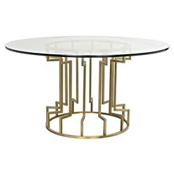 Lenelle Hollywood Regency Gold Glass Round Dining Table