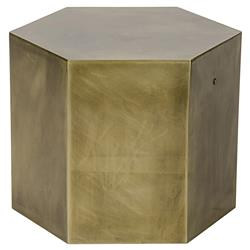Lantha Antique Brass Hexagonal Side Table | Kathy Kuo Home