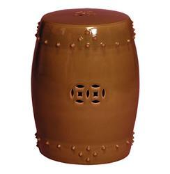 Classic Prosperity Brown Rust Ceramic Garden Seat Stool - 25 Inch