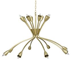 Noir Lexa Modern Classic Antique Brass 8 Light Chandelier