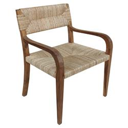 Noir Bowie Rustic Teak Rush Arm Chair