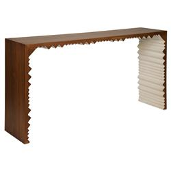 Pillan Rustic Lodge Dark Walnut White Zig Zag Console Table | Kathy Kuo Home