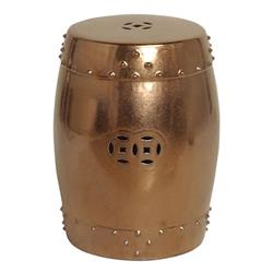 Metallic Gold Ceramic Garden Seat Stool - 25 Inch