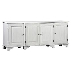 Oldina French Country Weathered White Mahogany 4 Door Sideboard | Kathy Kuo Home
