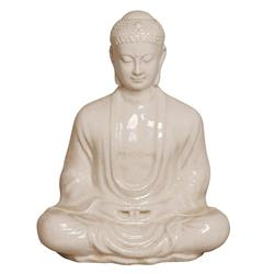 Antique White Ceramic Meditating Buddha Lotus Seat Sculpture- 23 Inch