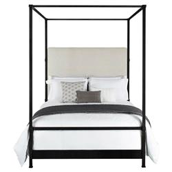 Quade Upholstered Black Iron Canopy Four Poster Bed - Full
