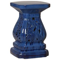 Four Seasons Urn Shape Blue Pierced Ceramic Garden Seat Stool