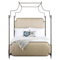 Kensington Modern Classic Beige Upholstered Canopy Bed - Queen | Kathy Kuo Home