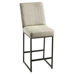 Mayfair Modern Classic Beige Upholstered Bronze Bar Stool - 30 inches | Kathy Kuo Home