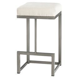 Harper Classic Metal White Upholstered Counter Stool | Kathy Kuo Home