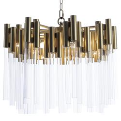 Reginald Hollywood Regency Steel Glass Pendant | Kathy Kuo Home