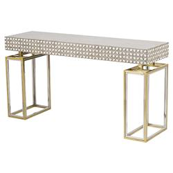 Isla Hollywood Regency Concrete Top Shell Detailed Console Table | Kathy Kuo Home