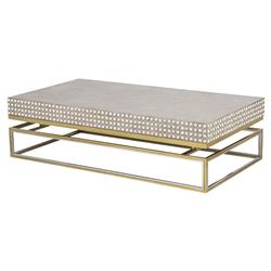 Isla Hollywood Regency Concrete Top Shell Detailed Coffee Table | Kathy Kuo Home