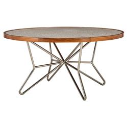 Samuelle Modern Classic Rosewood Terrazzo Marble Round Dining Table | Kathy Kuo Home
