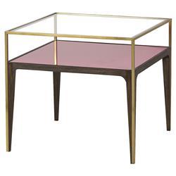 Saldana Modern Classic Gold Trim Pink Glass Side End Table