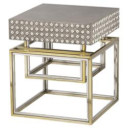 Isla Hollywood Regency Concrete Top Shell Detailed Side End Table | Kathy Kuo Home