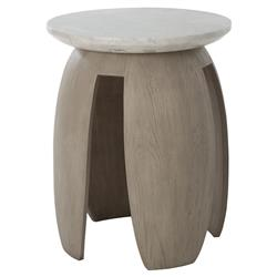 Kelly Hoppen Glenn Modern Classic Grey Oak White Marble Top Side Table