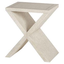 Victoria Modern Classic Ivory Wood X Shape Side End Table | Kathy Kuo Home