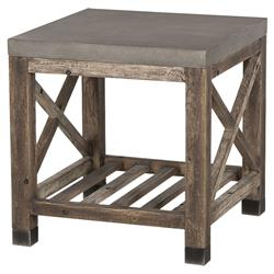 Peonie Rustic Lodge Concrete Top Weathered Wood Side End Table